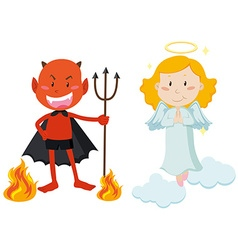 Devil with trident and angel flying vector image