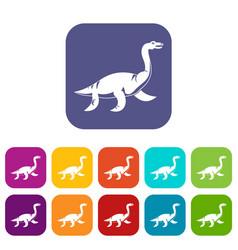 elasmosaurine dinosaur icons set flat vector image vector image