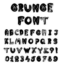 English alphabet in grunge style - coal imitation vector image