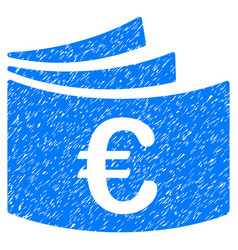 Euro checkbook grunge icon vector