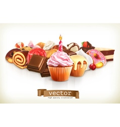 Festive cupcake with candle confectionery vector image vector image