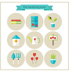 Flat gardening and flowers icons set vector