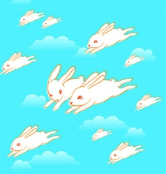 Flying bunnies pattern vector