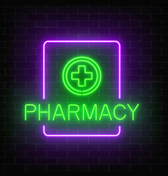 glowing neon pharmacy signboard on a dark brick vector image vector image