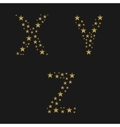 Golden stars alphabet vector