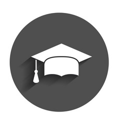 Graduation cap flat design icon finish education vector