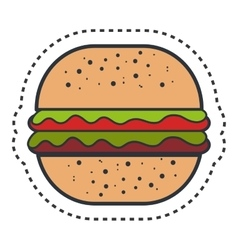 Hamburger fast food isolated icon vector