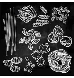 Hand drawn pasta variations set vector image