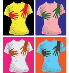 Hand print tees vector image vector image
