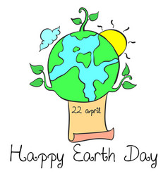 Happy earth day with world cartoon style vector