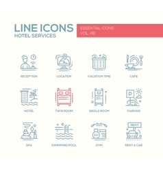 Hotel services - flat design line icons set vector