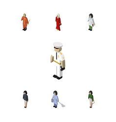 isometric human set of doctor seaman cleaner and vector image