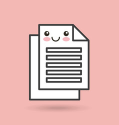 Paper documents character kawaii style vector