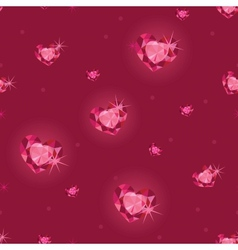 Ruby heart diamonds seamless pattern background vector image