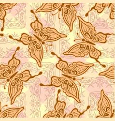 Seamless symbolical butterflies vector