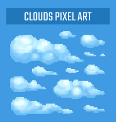 set of pixel clouds on blue background vector image vector image