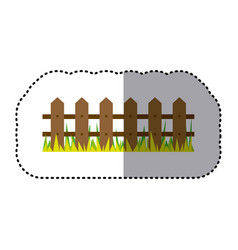 Sticker colorful picture wooden fence and grass vector