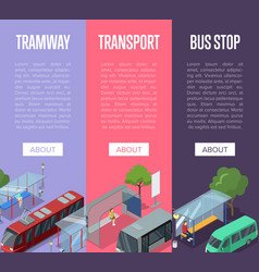 Tramway and bus station isometric 3d posters vector