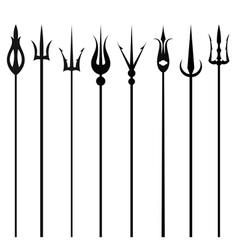 Tridents set isolated on a white background vector image