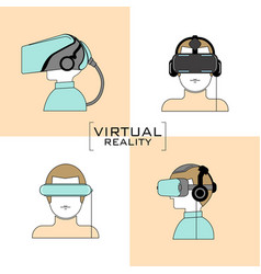 Virtual reality headset icon flat design line vector