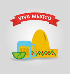 viva mexico hat and glass tequila and lemon banner vector image