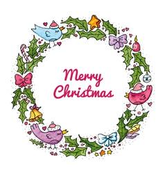 Watercolor christmas wreath vector