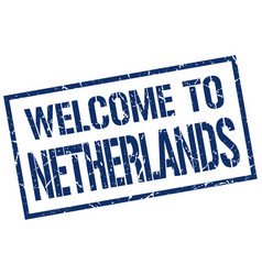 Welcome to netherlands stamp vector