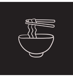 Bowl of noodles with pair chopsticks sketch icon vector