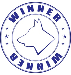 Canine club winner seal vector