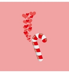 heart cartoon candy cane sweet icon design vector image