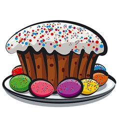 easter cake and eggs vector image