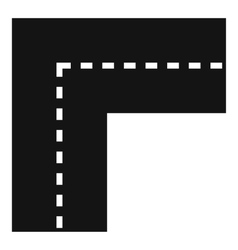 Turning road icon simple style vector image