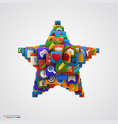 star made of many application icons vector image