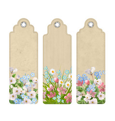 Set of bookmarks with flowers vector