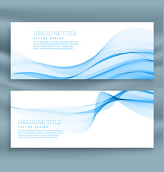 Blue abstract wave banners templates vector