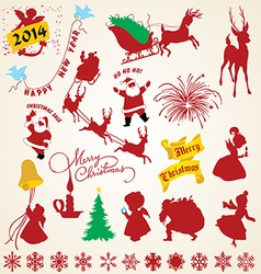 Christmas silhouettes icons pack vector