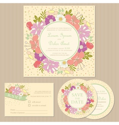 Wedding set with floral frame vector