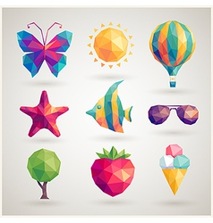 Summer hipster icons vector