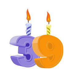 39 years birthday number with festive candle for vector
