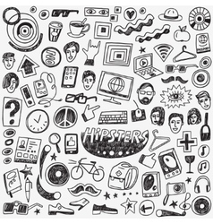 hipsters doodles set vector image