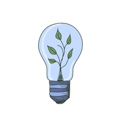 Colored doodle light bulb with sprout inside vector