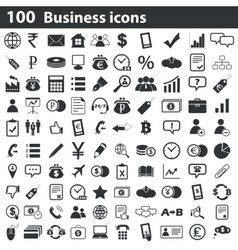 100 business icons set vector image
