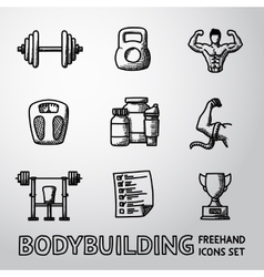 Set of bodybuilding freehand icons with - dumbbell vector