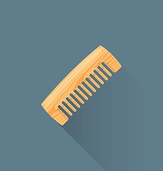 Flat wooden comb icon vector