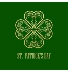 Golden shamrock patrick day simbol vector