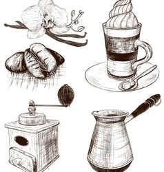 Hand drawn cafe items set vector