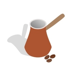 Cezve for coffee and coffee beans icon vector
