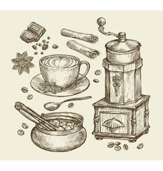 Hand drawn vintage coffee grinder cup beans vector image