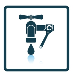 Icon of wrench and faucet vector