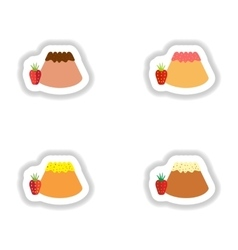 Set stylish paper stickers bun with strawberries vector